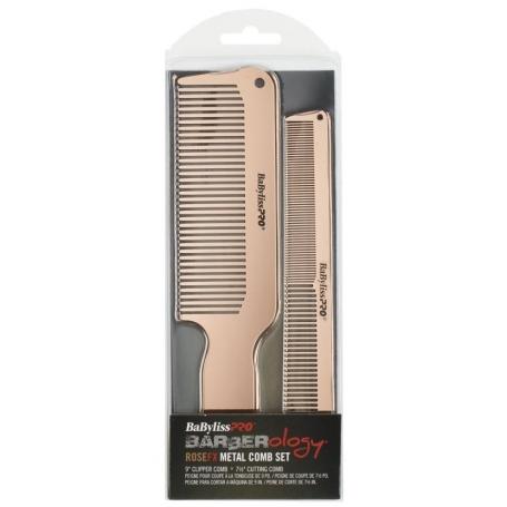 babyliss pro rose fx metal barber comb 2 piece set 1