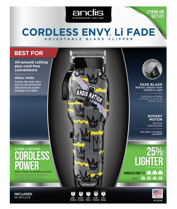 73095 cordless envy li clipper andis nation crown lcl package front